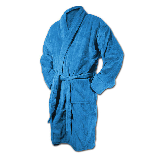 Columbia Blue Bath Robe - Terry Velour Shawl Collar, 13 oz.