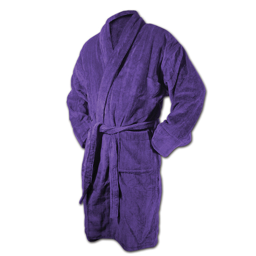 Purple Bath Robe - Terry Velour Shawl Collar, 13 oz.