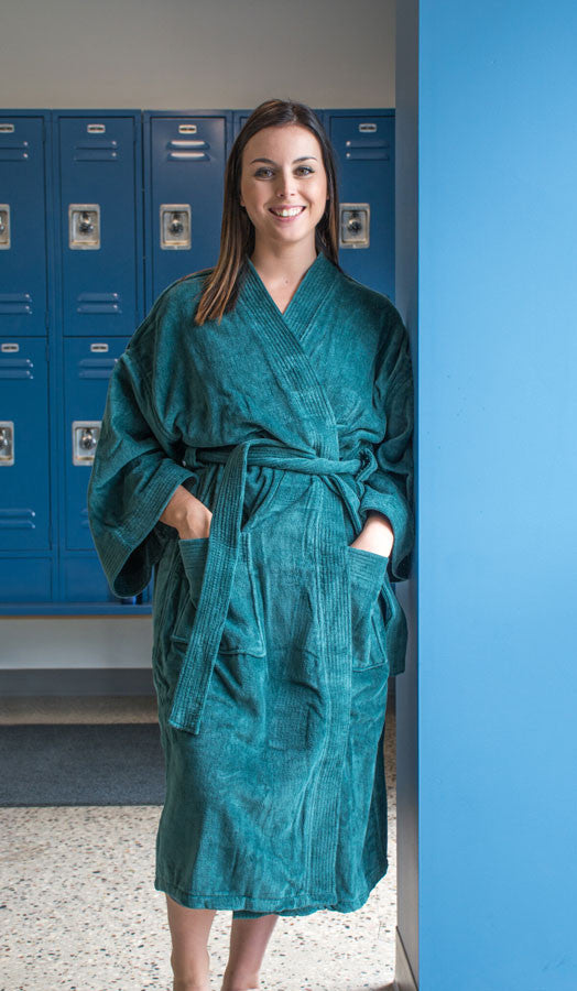 Bath Robe - Terry Velour Cotton Kimono Collar, 12 oz.