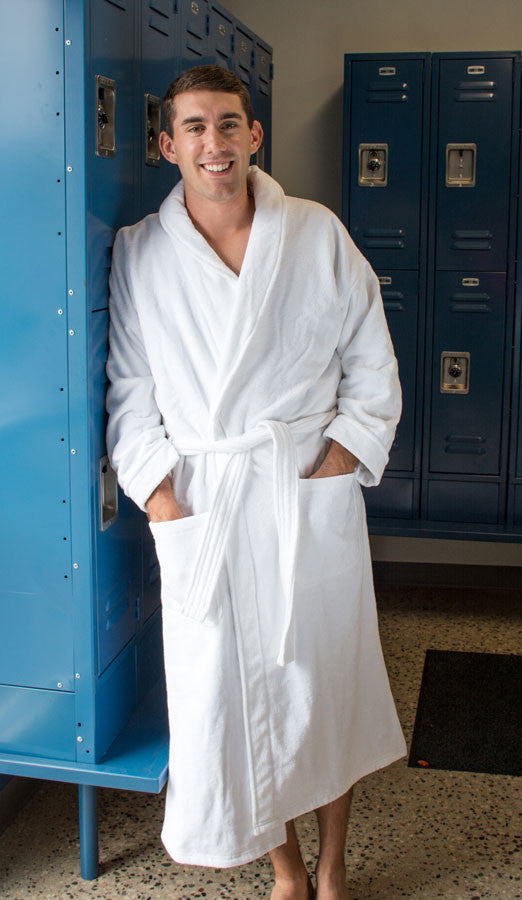 Bath Robe - Terry Velour Shawl Collar, 12 oz.