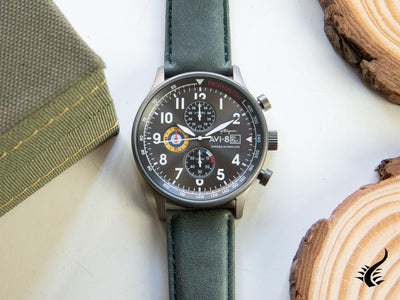 AVI-8 Hawker Hurricane Quartz Watch, Grey, 42 mm, Chronograph, AV-4011-0D AVI-8 Quartz Watch