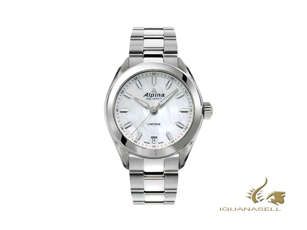 Alpina Comtesse Ladies Quartz Watch, Mother of pearl, 34 mm, AL-240MPW2C6B