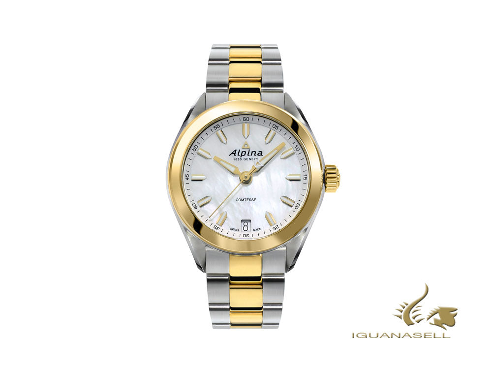 Alpina Comtesse Ladies Quartz Watch, White, PVD Gold, 34 mm, AL-240MPW2C3B