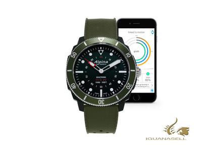 Alpina Seastrong Horological Smartwatch Quartz watch, Green, 44mm, 10 atm