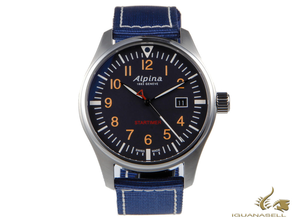 Alpina Startimer Pilot Quartz Watch, 42mm, Black, Blue, Day, AL-240N4S6