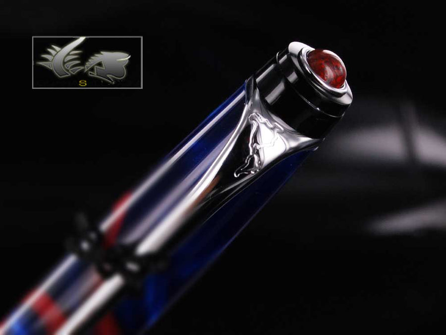 Aurora America Ballpoint pen, Limited Edition, Marbled resin, Chrome trims