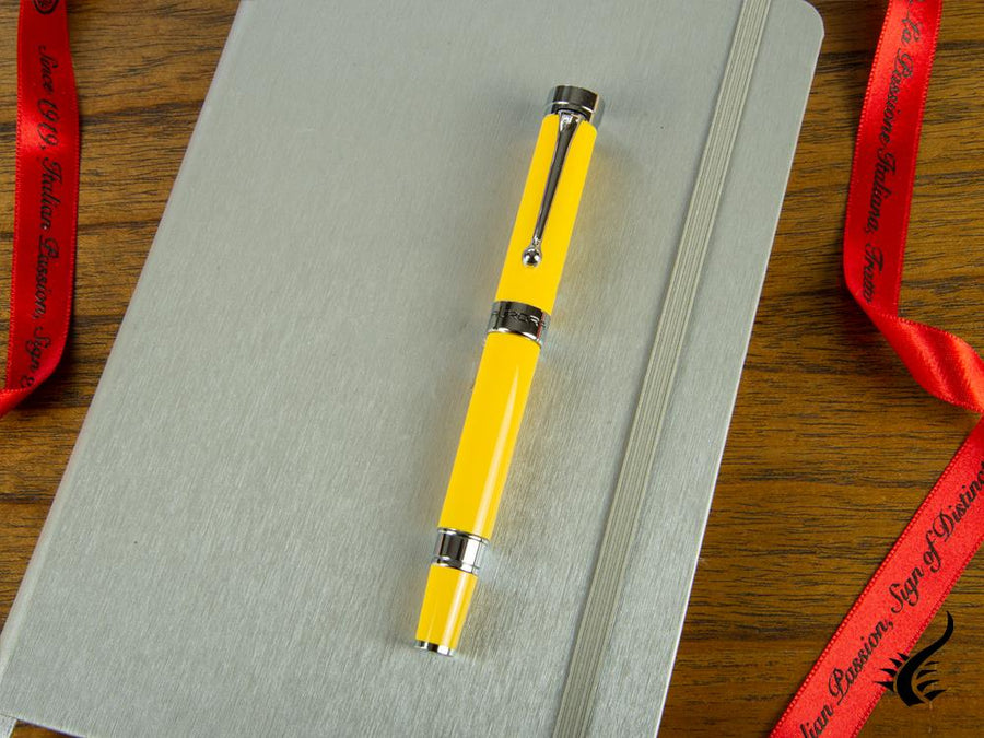 Aurora EDO Rollerball Pen, Resin, Chrome Trim, Yellow, O71-Y