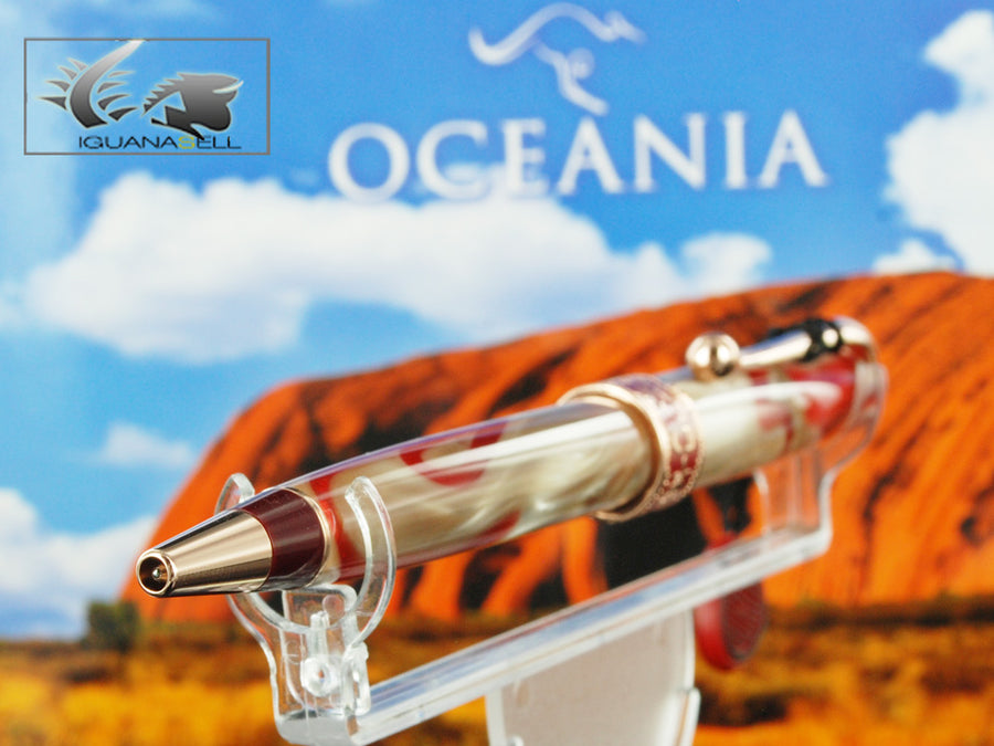 Aurora Oceania Ballpoint Pen, Limited Edition, Marbled resin, Rose Gold trims