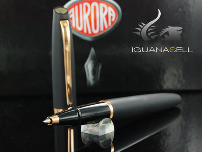 Aurora Style Rollerball pen, Black Resin, Gold trim, E60PN
