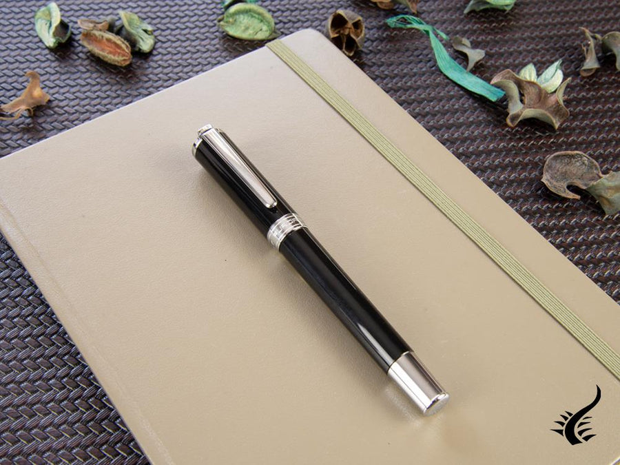 Aurora TU Fountain Pen - Black Resin - Chromed - T11N Aurora Fountain Pen