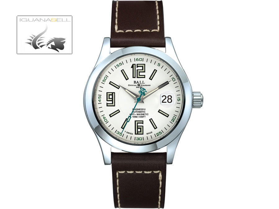 Ball Engineer II Arabic Watch, Ball RR1103, White, Leather strap, 40mm.
