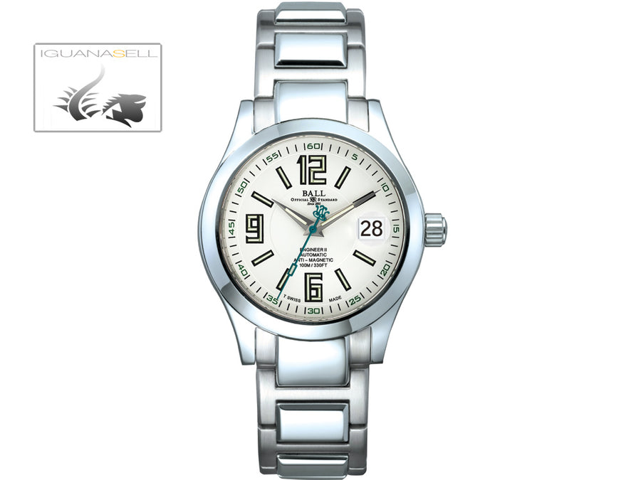 Ball Engineer II Arabic Watch, Ball RR1103, White, Steel bracelet, 40mm.