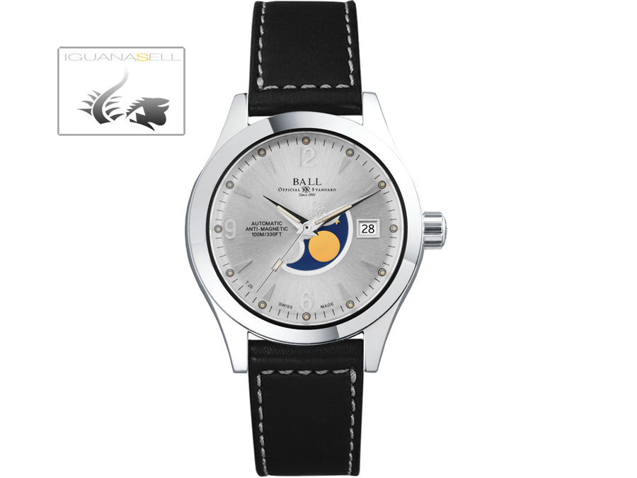 Ball Engineer II Ohio Moon Phase Watch, Ball RR1801, Silver, Leather strap, 40mm Ball Automatic Watch