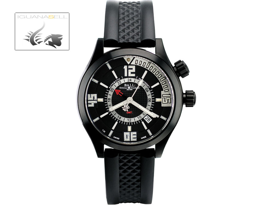 Ball Engineer Master II Diver GMT Watch, Ball RR1201, Black, Rubber strap