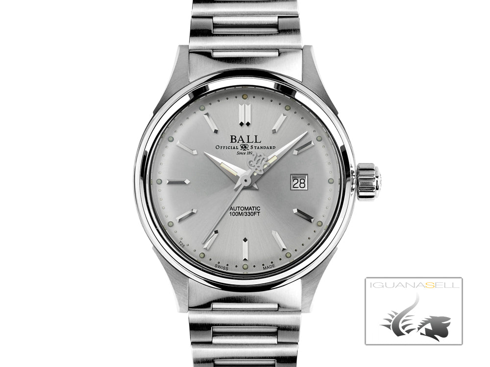 Ball Fireman Classic Ladies Automatic Watch, Stainless steel, NL2098C-SJ-WH