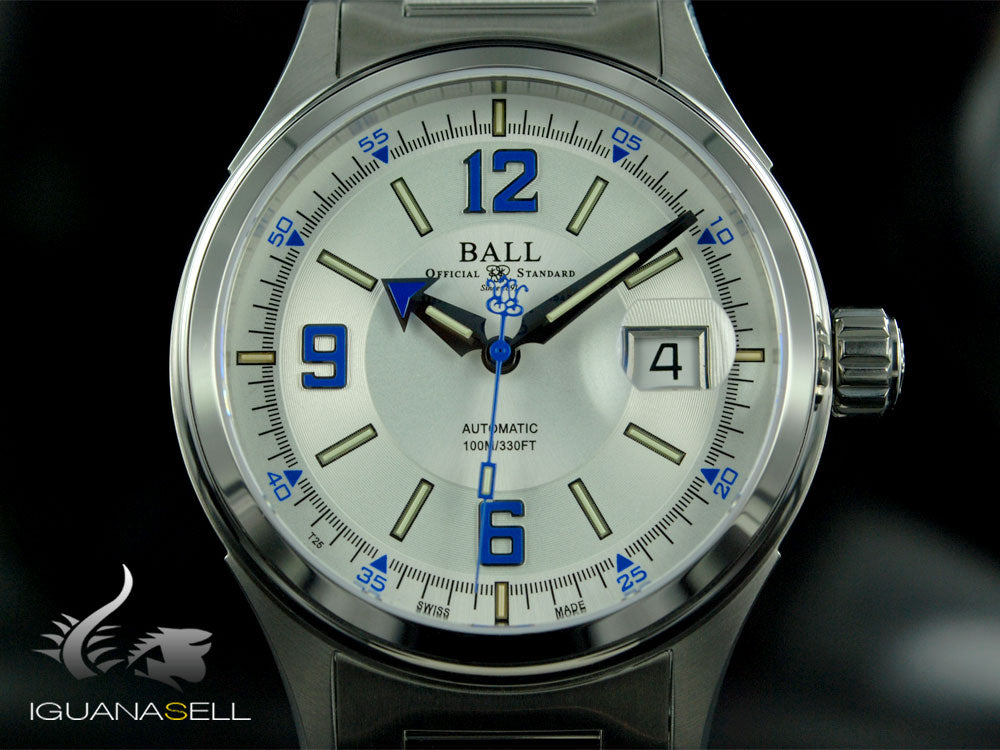 Ball Fireman Racer Watch, Ball RR1103, White, Steel bracelet, NM2088C-S2J-WHBE
