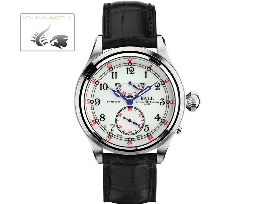 Ball Trainmaster 21st Century Watch, White, Crocodile band, Limited Edition Ball Automatic Watch