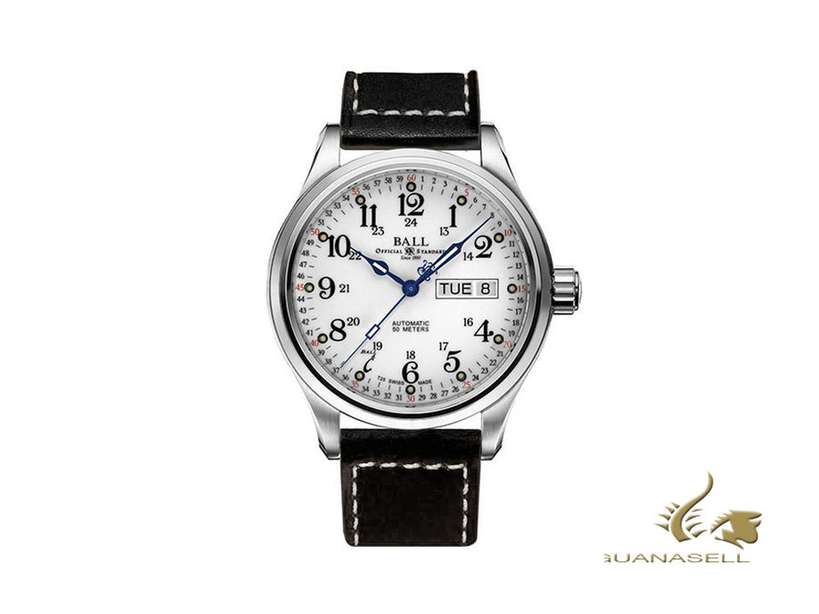 Ball Trainmaster 60 Seconds Watch, Ball RR1102, White, Leather strap