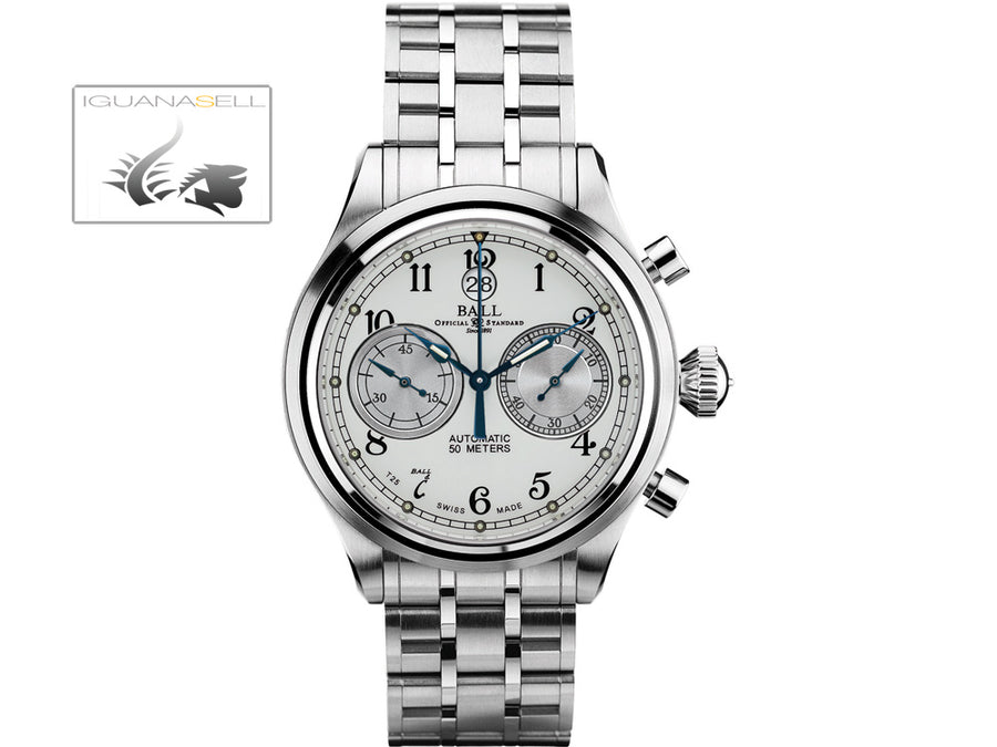 Ball Trainmaster Cannonball Watch, Ball RR1401, White, Steel bracelet