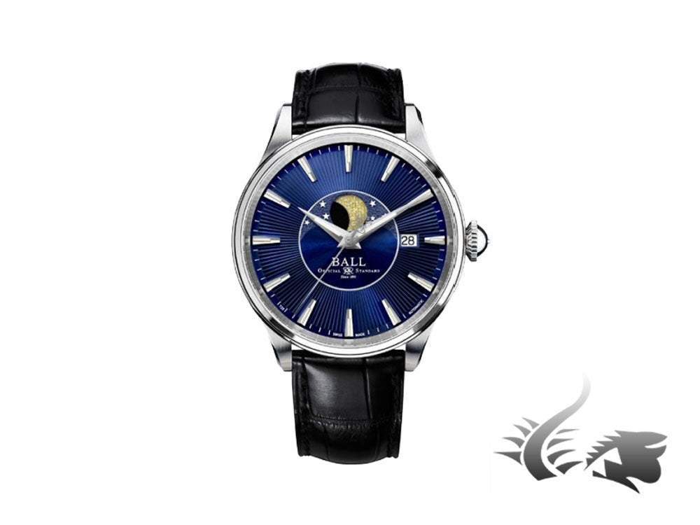 Ball Trainmaster Moon Phase Automatic Watch, Ball RR1801, Blue, NM3082D-LLJ-BE