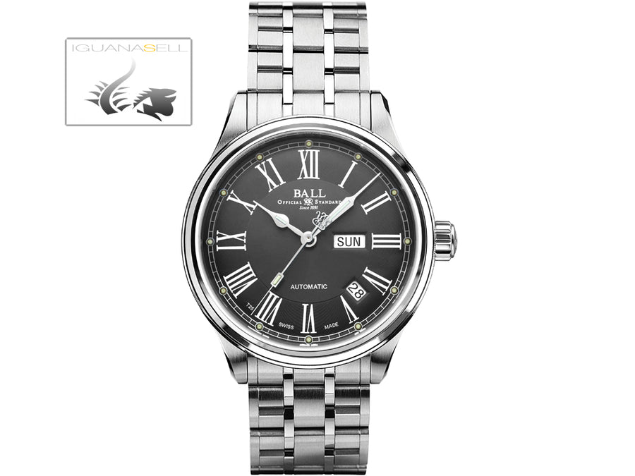 Ball Trainmaster Roman Watch, Ball RR1102, Grey, Steel bracelet Ball Automatic Watch