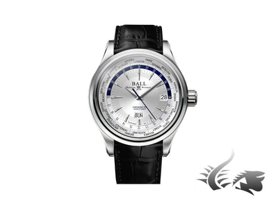 Ball Trainmaster Worldtime Automatic Watch, Ball RR1501-C, Silver, COSC Ball Automatic Watch