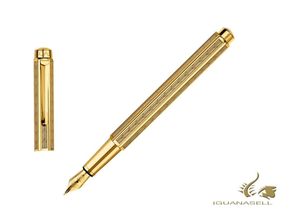 Caran d´Ache Ecridor Chevron Fountain Pen, PVD Gold, Gold, 958.208 Fountain Pen
