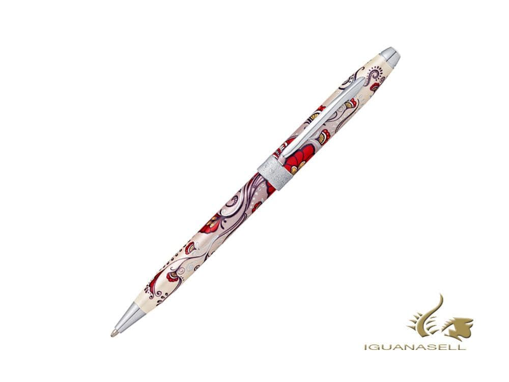 Cross Botanica Red Hummingbird Vine Ballpoint pen, Lacquer, Chrome, AT0642-3 Ballpoint pen