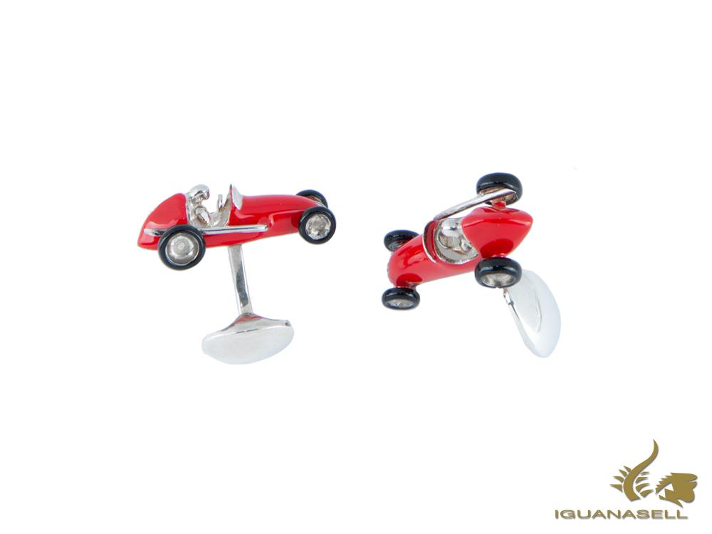 Deakin & Francis Red Car Cufflinks, Silver .925, Red, C1588S0722