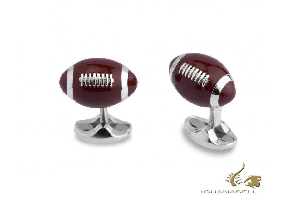 "Deakin & Francis Sports ""American Football"" Cufflinks, Silver, Brown, C1590S20 Deakin & Francis Cufflinks"