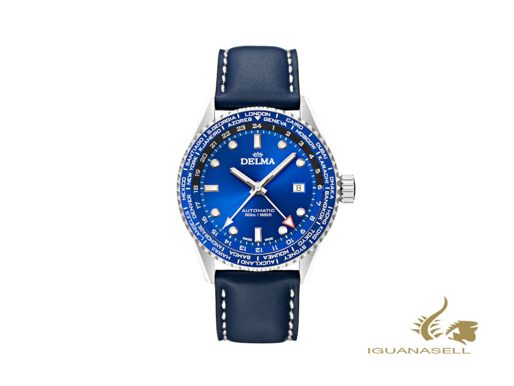 Delma Diver Cayman Worldtimer Automatic Watch, Blue, 42 mm, 41601.710.6.041