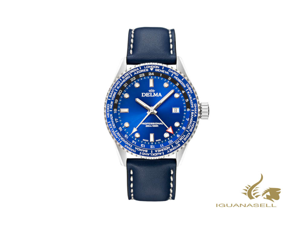 Delma Diver Cayman Worldtimer Quartz Watch, Blue, 42 mm, 20 atm, 41601.712.6.041