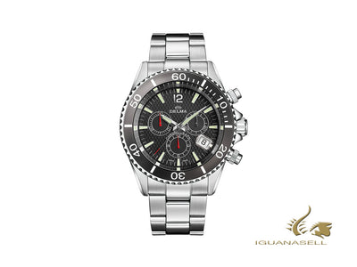 Delma Diver Santiago Chronograph Quartz Watch, Black, 43 mm, 41701.564.6.034 Delma Quartz Watch