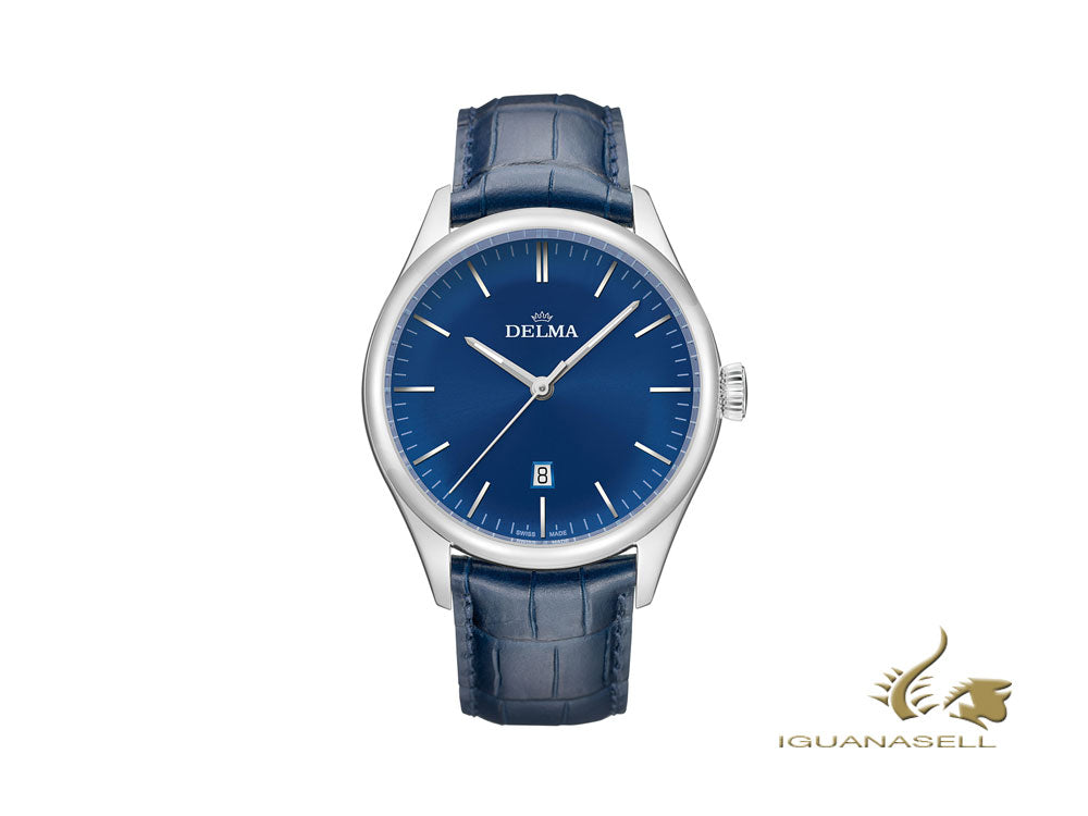 Delma Dress Heritage Quartz Watch, Blue, 43 mm, Leather strap, 41601.686.6.041