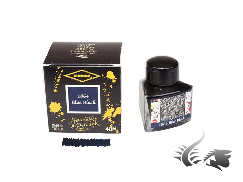 Diamine 1864 Blue Black, 150th Anniversary Ink Bottle, 40ml, Crystal