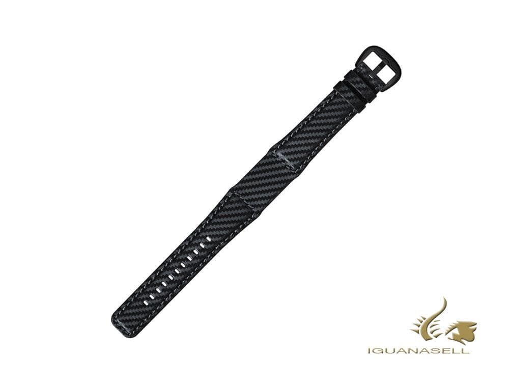Dietrich Carbon Strap, Leather, Black, 22mm, Buckle, PVD Dietrich Strap