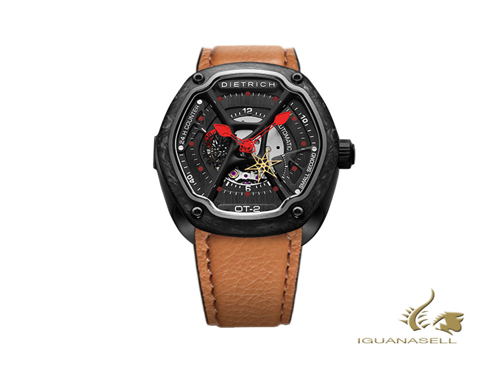 Dietrich OT-2 Automatic Watch, PVD, Forged carbon, 46mm, Leather strap, beige