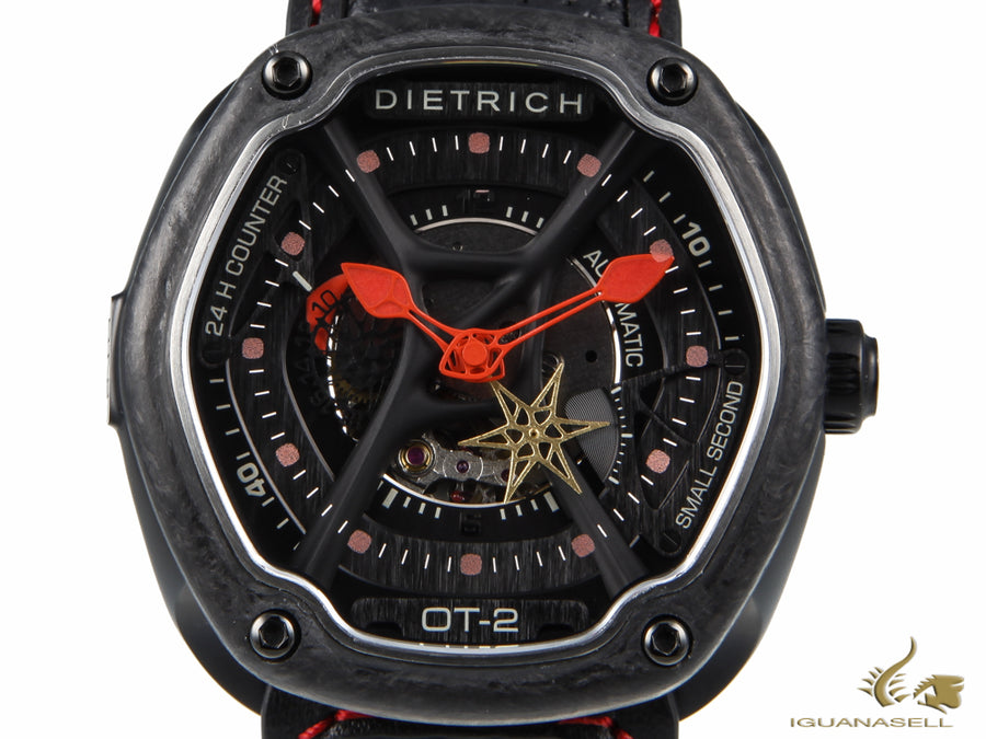 Dietrich OT-2 Automatic Watch, PVD, Black, 46mm, Forged carbon, Leather strap Dietrich Automatic Watch