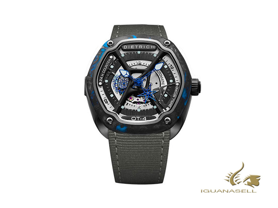 Dietrich OT-4 Automatic Watch, PVD, Grey, 46mm, Forged carbon, Nylon