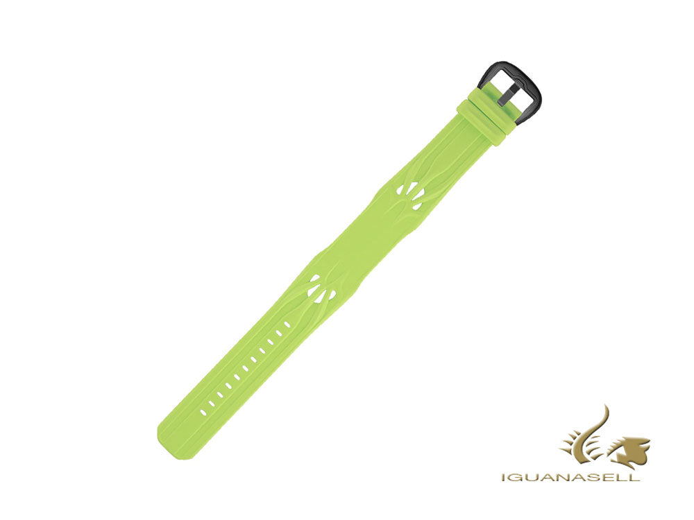 Dietrich Sculptural design Strap, Rubber, Green, 24mm, Buckle, PVD Dietrich Strap