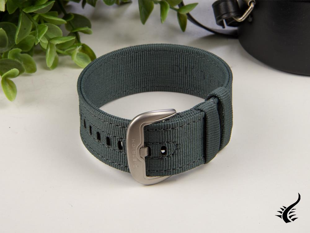 Dietrich Straight Strap, Nylon, Grey, 24mm, Buckle, Stainless Steel Strap