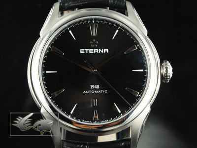 Eterna Heritage 1948 Date Automatic Watch, ETA 2824-2, 42,5 mm, Alligator, Black