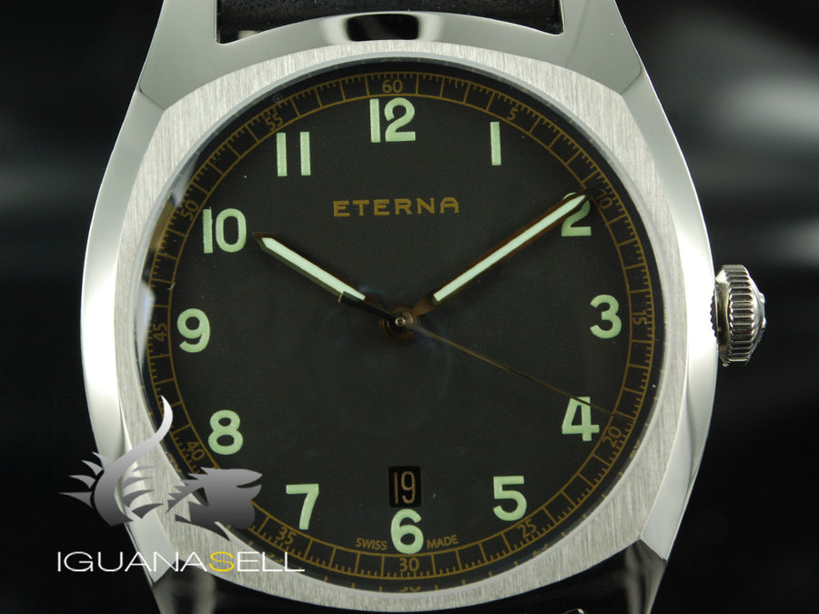 Eterna Heritage Military Watch, ETA 2894-2, 40mm, Leather strap, Limited Edition