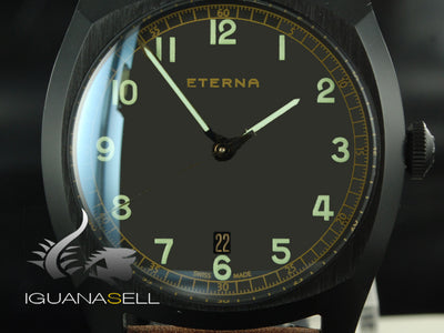Eterna Heritage Military Watch, ETA 2894-2, 40mm. PVD, Leather strap, L.Edition