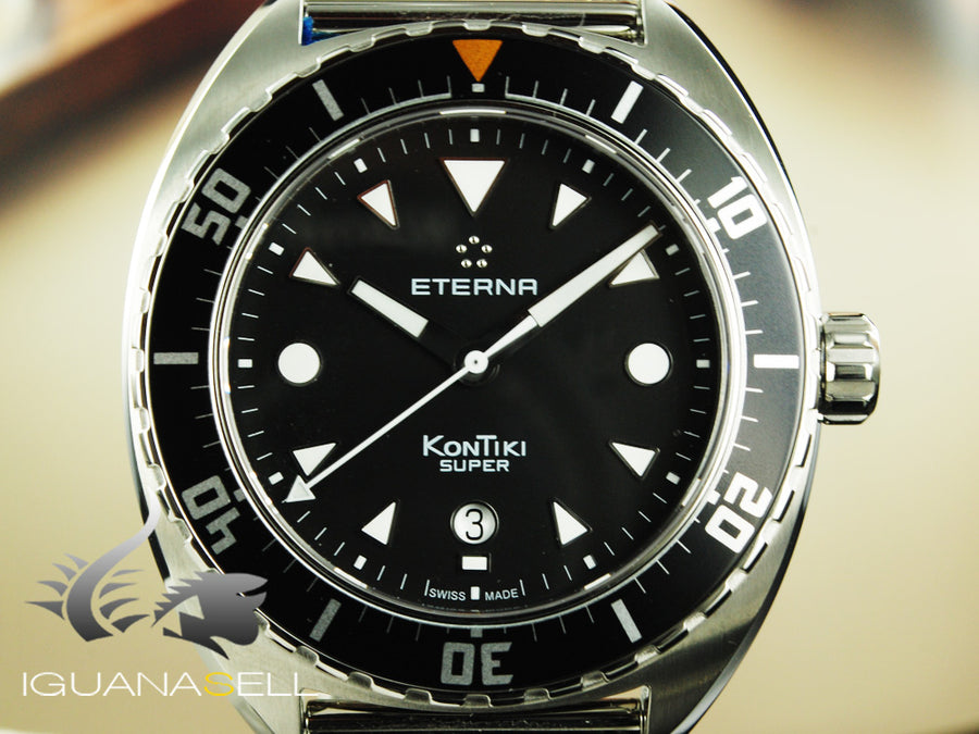 Eterna Super KonTiki Automatic Watch, Black, Mesh strap, 1273.41.40.1718