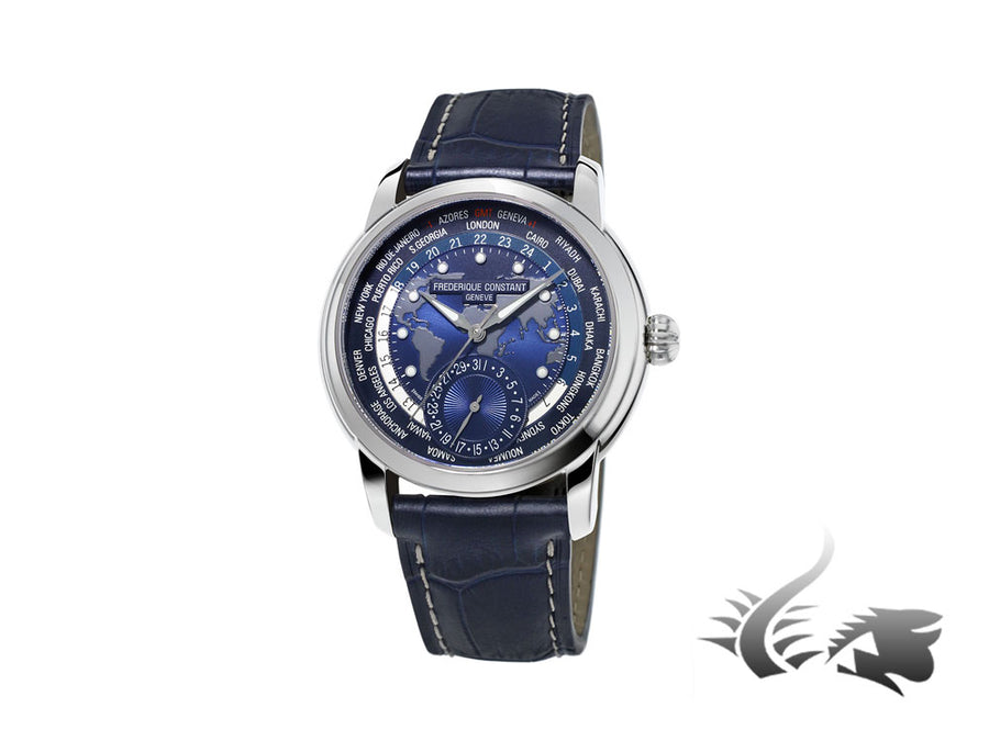 Frederique Constant Manufacture Worldtimer Automatic Watch, FC-718, GMT, Day Frederique Constant Automatic Watch