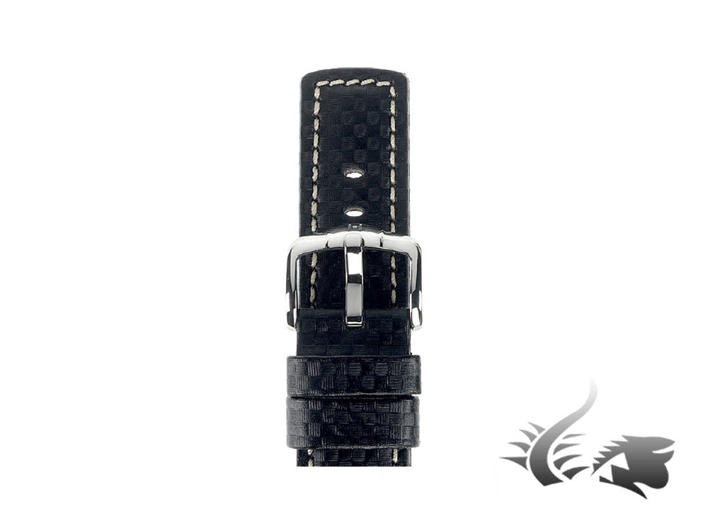 Hirsch Carbon Leather Strap, Black, White, 18 mm., L (200 mm), 02592050-2-18