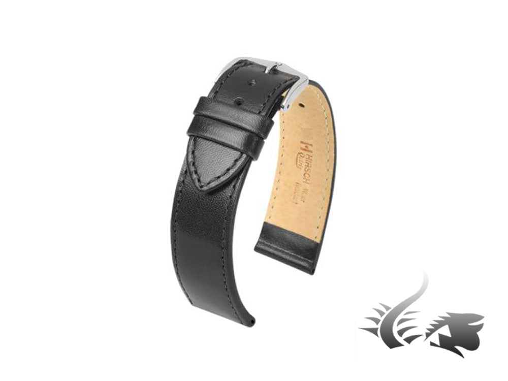Hirsch Osiris Leather Strap, Black, 18 mm, L (200 mm), 03475050-2-18
