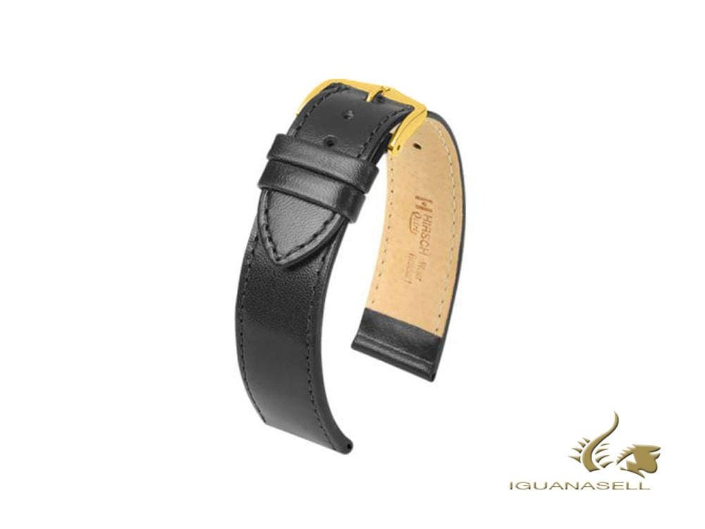 Hirsch Osiris Leather Strap, Black, 21mm, L (200 mm), 03475050-1-21 Strap