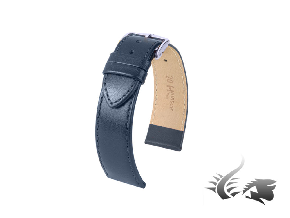 Hirsch Osiris Leather Strap, Blue, 20 mm, L (200 mm), 03475080-2-20